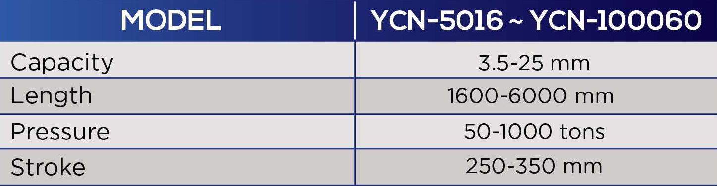 yeh chiun hydraulic press brake specification